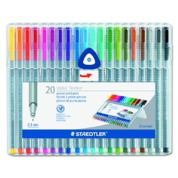 STAEDTLER TRIPLUS FINELINER FULL RANGE BOX SET OF 20 ASSORTED COLOURS 334 SB20